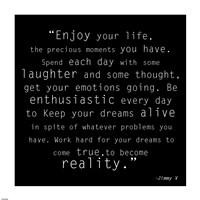 Enjoy Life, Jimmy V Quote Fine-Art Print