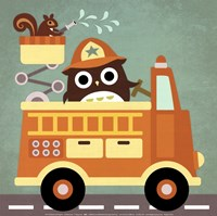 Owl in Firetruck and Squirrel Fine-Art Print