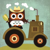 Owl on Tractor Fine-Art Print