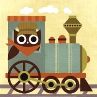Owl Train Conductor Fine-Art Print