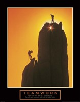 Teamwork-Sunset Climbers Fine-Art Print