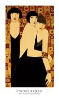 Three Women in Crimson Gold Mosaic Fine-Art Print