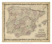 Johnson's Map of Spain & Portugal Fine-Art Print