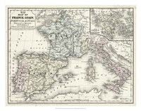 Map of France, Spain & Italy Fine-Art Print
