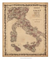 Johnson's Map of Italy Fine-Art Print