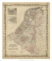 Johnson's Map of Holland & Belgium Fine-Art Print