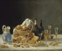 Still Life with Wine Bottles and Basket of Fruit, 1857 Fine-Art Print
