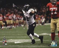 Ray Lewis Celebrates the final play of his NFL career Super Bowl XLVII Fine-Art Print