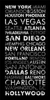 USA Cities Black Fine-Art Print