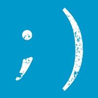 Blue Wink Smiley Framed Print