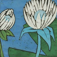 Turquoise Batik Botanical IV Fine-Art Print