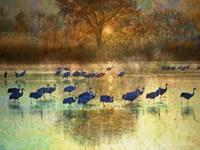 Cranes in Mist II Fine-Art Print