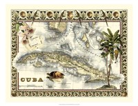 Tropical Map of Cuba Fine-Art Print