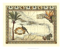 Tropical Map of West Indies Fine-Art Print