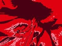 Amaryllis Pistils up close on Red Fine-Art Print