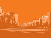 City Block on Orange Fine-Art Print