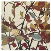 Bordeaux Leaves I - Mini Fine-Art Print