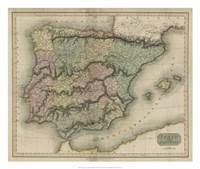 Vintage Map of Spain & Portugal Fine-Art Print