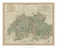 Vintage Map of Switzerland Fine-Art Print