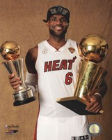 LeBron James with the NBA Championship & MVP Trophies Game 7 of the 2013 NBA Finals Fine-Art Print