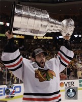 Corey Crawford with the Stanley Cup Game 6 of the 2013 Stanley Cup Finals Fine-Art Print