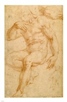 Studies of a Male Nude, a Drapery, and a Hand Fine-Art Print