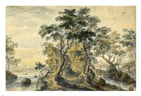 River Landscape with House on a Rocky Island Fine-Art Print