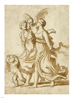 Two Girls Accompanied by Cupid Fine-Art Print