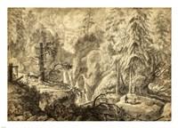 Mountain Landscape, Peasants in a Clearing near a Waterfall Fine-Art Print