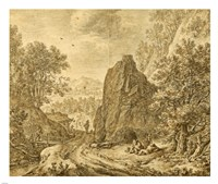 Mountain Landscape with Figures Fine-Art Print