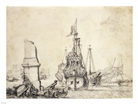 A Ship in a Port with a Ruined Obelisk Fine-Art Print