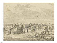 A Scene on the Ice with Skaters and Wagons Fine-Art Print