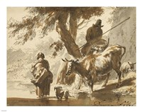 Cows Crossing a Ford with a Couple and a Dog Fine-Art Print