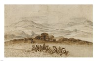 Landscape in Latium with Farm Laborers Fine-Art Print