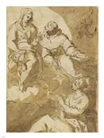 Saint Francis Interceding with the Virgin on Behalf of a Female Saint Fine-Art Print