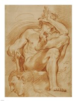 A Seated Nude Man, A Youthful Head, and a Caricature Head of a Man Playing a Pipe Fine-Art Print