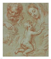 Studies of the Madonna and Child and of Heads Fine-Art Print