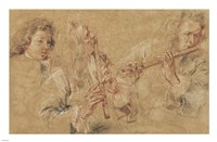 Two Studies of Flutist and Head of a Boy Fine-Art Print
