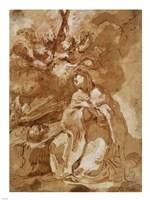 A Female Saint Contemplating a Crucifix Fine-Art Print