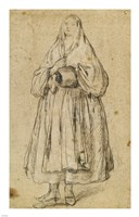 Standing Woman Holding a Muff and Shawl Fine-Art Print