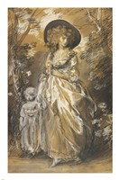 A Lady Walking in a Garden with a Child Fine-Art Print