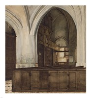 Interior of Abbey of Aramont at Verberie Fine-Art Print