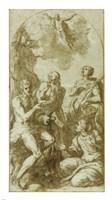 Christ the Savior above Saints John the Baptist, Jerome, Catherine, and Thomas Fine-Art Print
