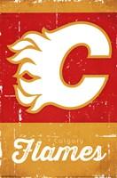 Calgary Flames - Retro Logo 13 Wall Poster