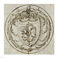 Design for an Ornament or Signet Ring with the Arms of Lazarus Spengler Fine-Art Print
