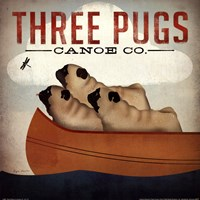 Three Pugs in a Canoe v Fine-Art Print