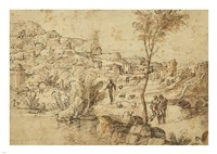 Landscape with Shepherds by a River and a Town Beyond Fine-Art Print
