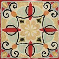 Bohemian Rooster Tile Square II Fine-Art Print