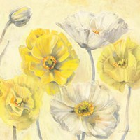 Gold and White Contemporary Poppies II Fine-Art Print