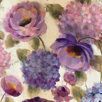 Blue and Purple Flower Song III Fine-Art Print